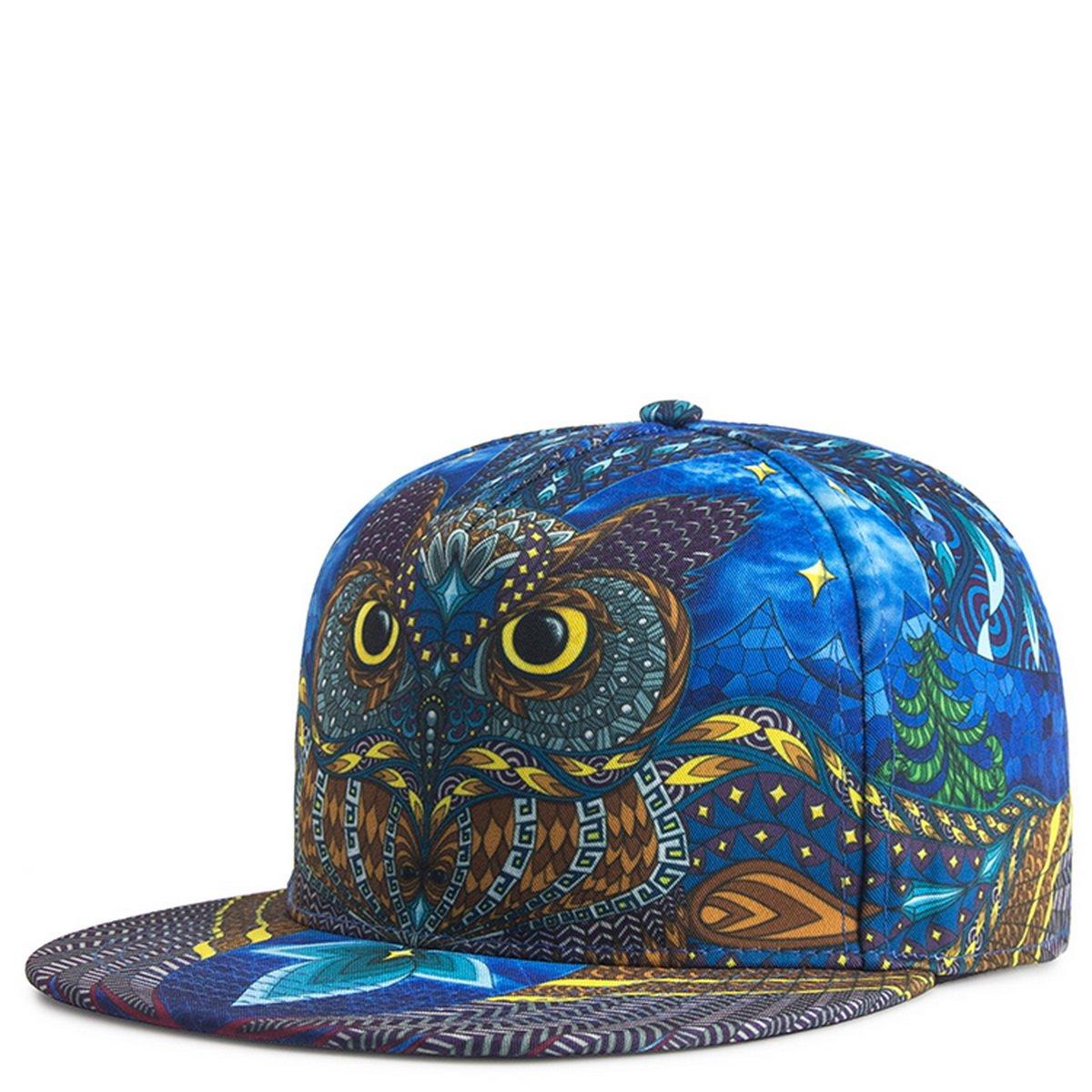 TESOON Unisex Snapback Hats ,Adjustable Printed Flat Brim Cap Hip Hop Hats TESOON Mens Street Hat