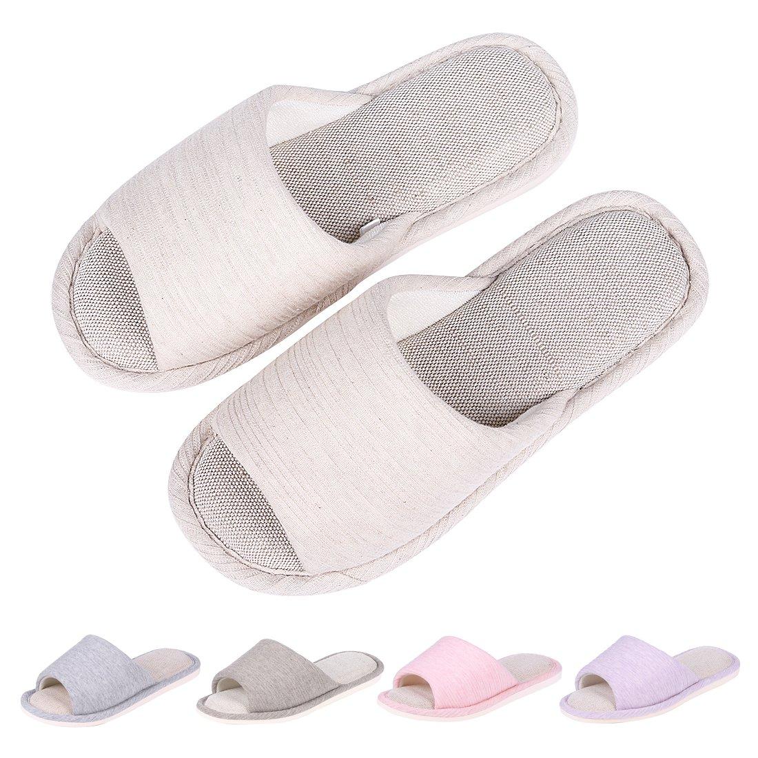 Women's Memory Foam House Slippers Summer Linen Home Shoes Open Toe Slip on Cotton House Slippers BG-L