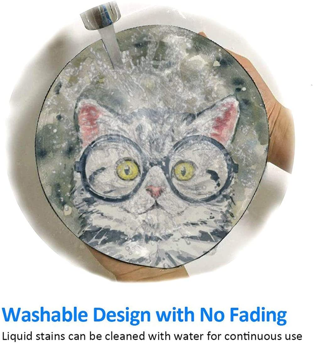 Painting Circle Cat Design Pattern Round Mouse Pad Desk Pad Non-Slip Rubber Mice Pads Stitched Edges Cute Round Mouse Pad for Office and Home