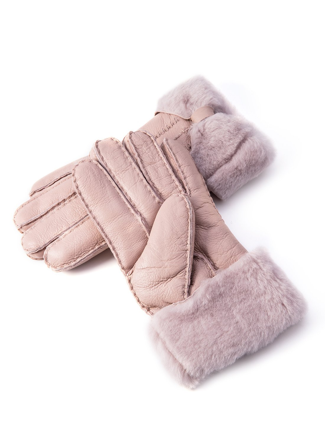 YISEVEN Women's Rugged Sheepskin Shearling Leather Gloves Three Points and Wing Cuffs Soft Thick Furry Fur Lined Warm Lining for Winter Cold Weather Heated Dress Driving Work Xmas Gifts, Pearl Pink S by YISEVEN (Image #1)
