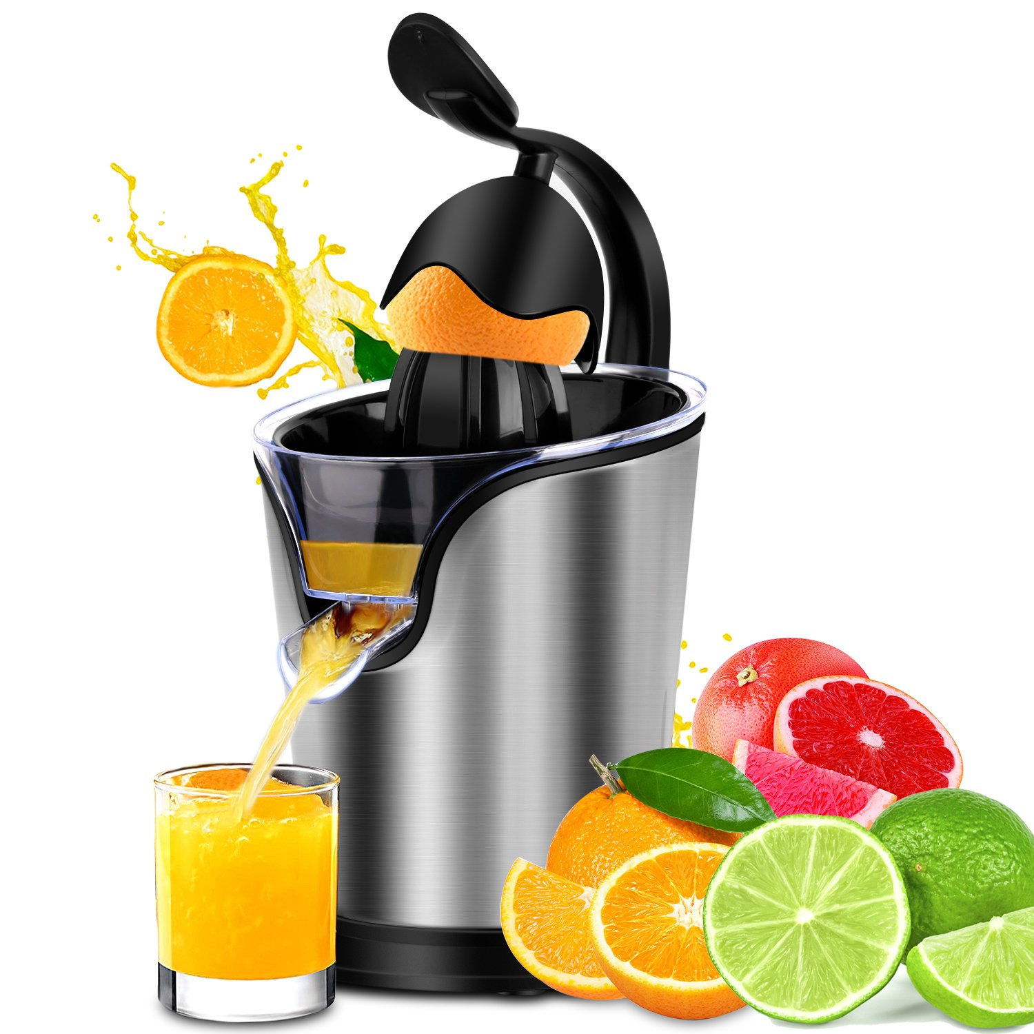 Citrus Juicer Stainless Steel Electric Orange Citrus Juicer Extractor Pulp Control Squeezer Machine [Ultra Quiet] [Precision of a Hand-press] with the Direct Drive Motor by SOWTECH