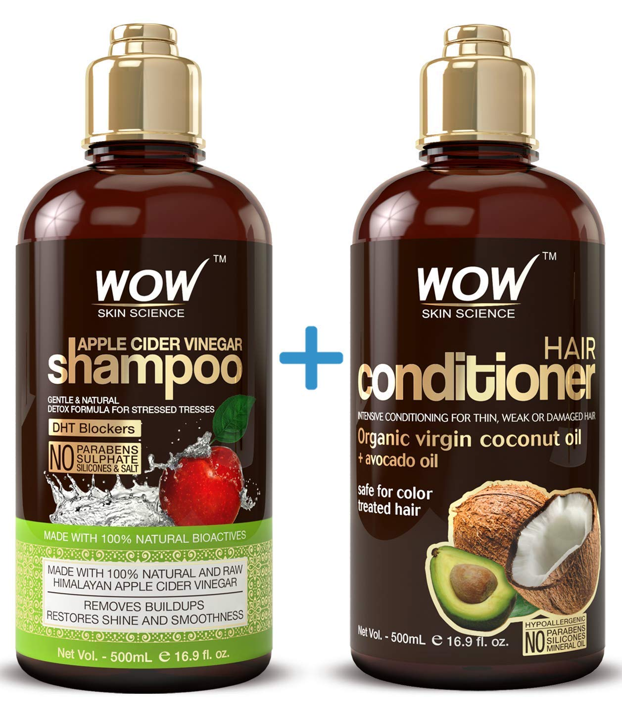 WOW Apple Cider Vinegar Shampoo & Hair Conditioner Set - (2 x 16.9 Fl Oz / 500mL) - Increase Gloss, Hydration, Shine - Reduce Itchy Scalp, Dandruff & Frizz - No Parabens or Sulfates - All Hair Types by BUYWOW