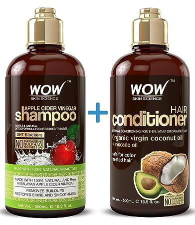 WOW Apple Cider Vinegar Shampoo & Hair Conditioner Set - (2 x 16 9 Fl Oz /  500mL) - Increase Gloss,