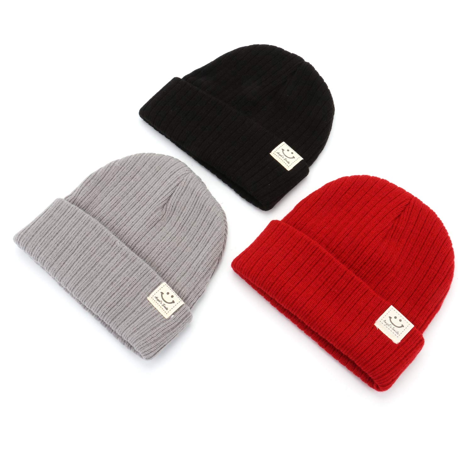 Girls and Boys Kingrol 3 Pack Soft Warm Knitted Beanie Hats for Baby