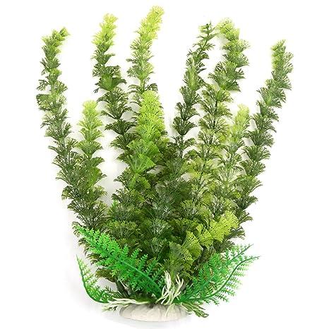 Sourcingmap Acuario Peces Decoración Paisaje plástico Planta, 28 cm, Color Verde Oscuro