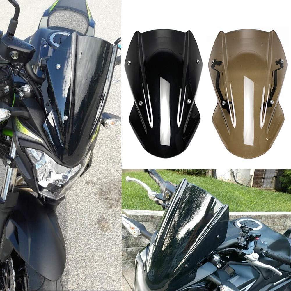TOOGOO Pare-Brise Moto Double Ligne Support D/éCran Pare-Brise pour Kawasaki Z650 Z-650 2017 2018 2019 Brun