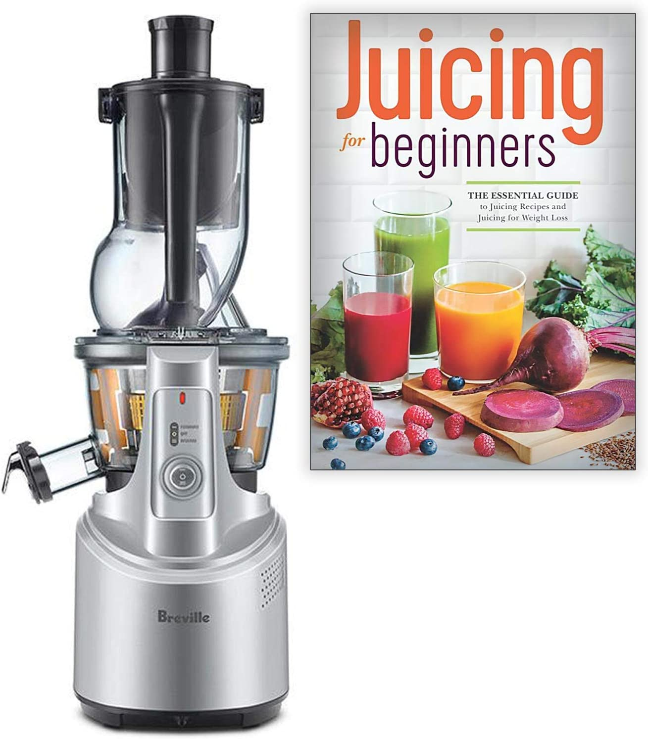 Breville BJS700SIL The Big Squeeze Slow Juicer Bundle with Juicing for Beginners Recipe Book: The Essential Guide to Juicing Recipes and Juicing for Weight Loss - Silver