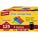 KAERSI Thicken Small Trash Bags for Office,Home Waste Bin, 4 Gallon, 125 Counts 3 Color