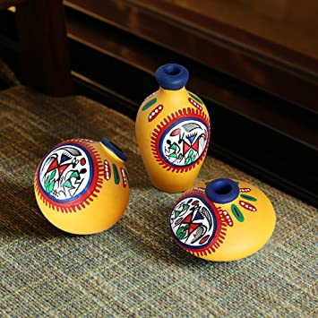 ExclusiveLane Terracotta Warli Handpainted Miniature Yellow Pots Set of 3 - Vases Decorative Item Home Decor Gift Item Vases at amazon