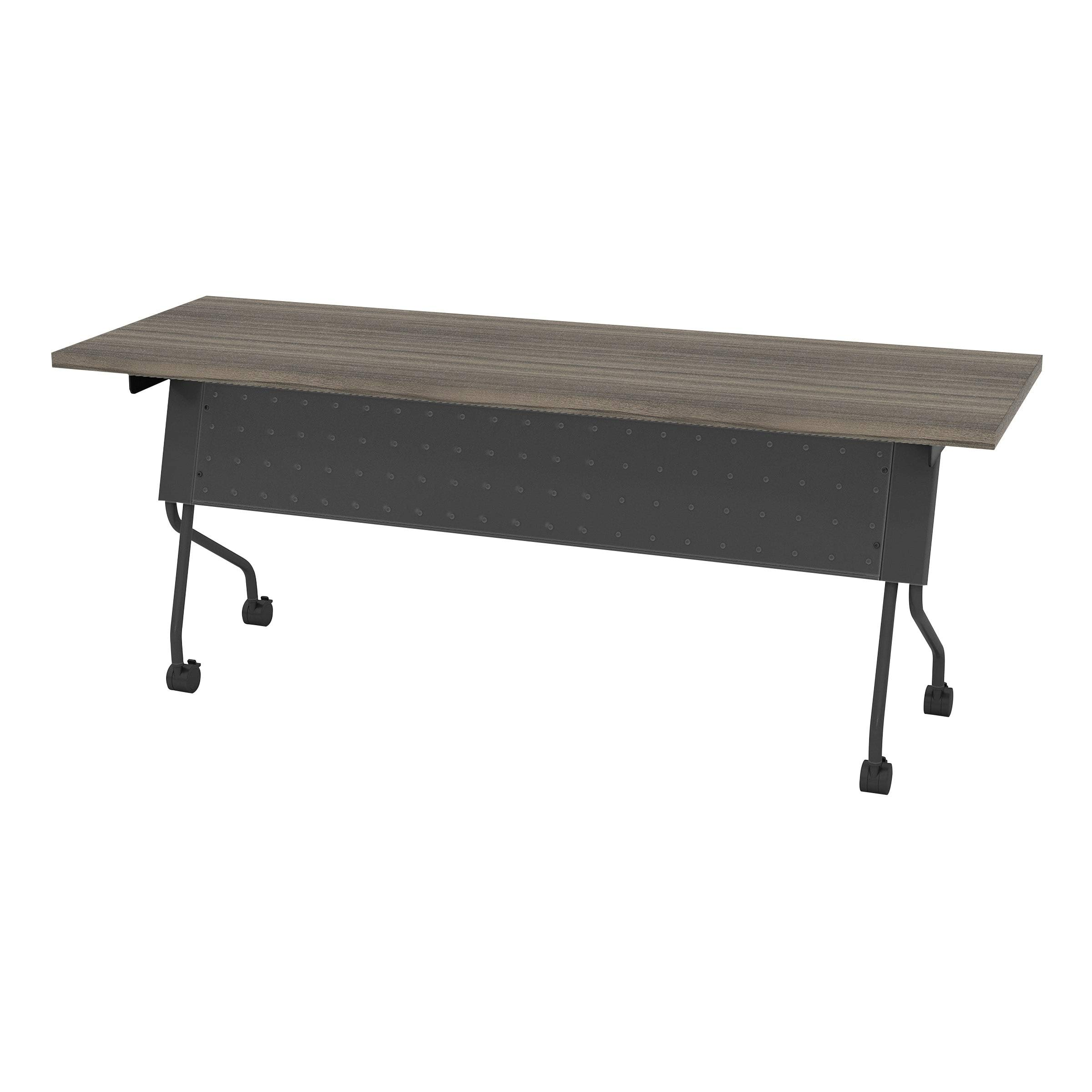 Office Star Products OSP Furniture Flip-Top Training Table 72 x 24 with Titanium Frame Urban Walnut