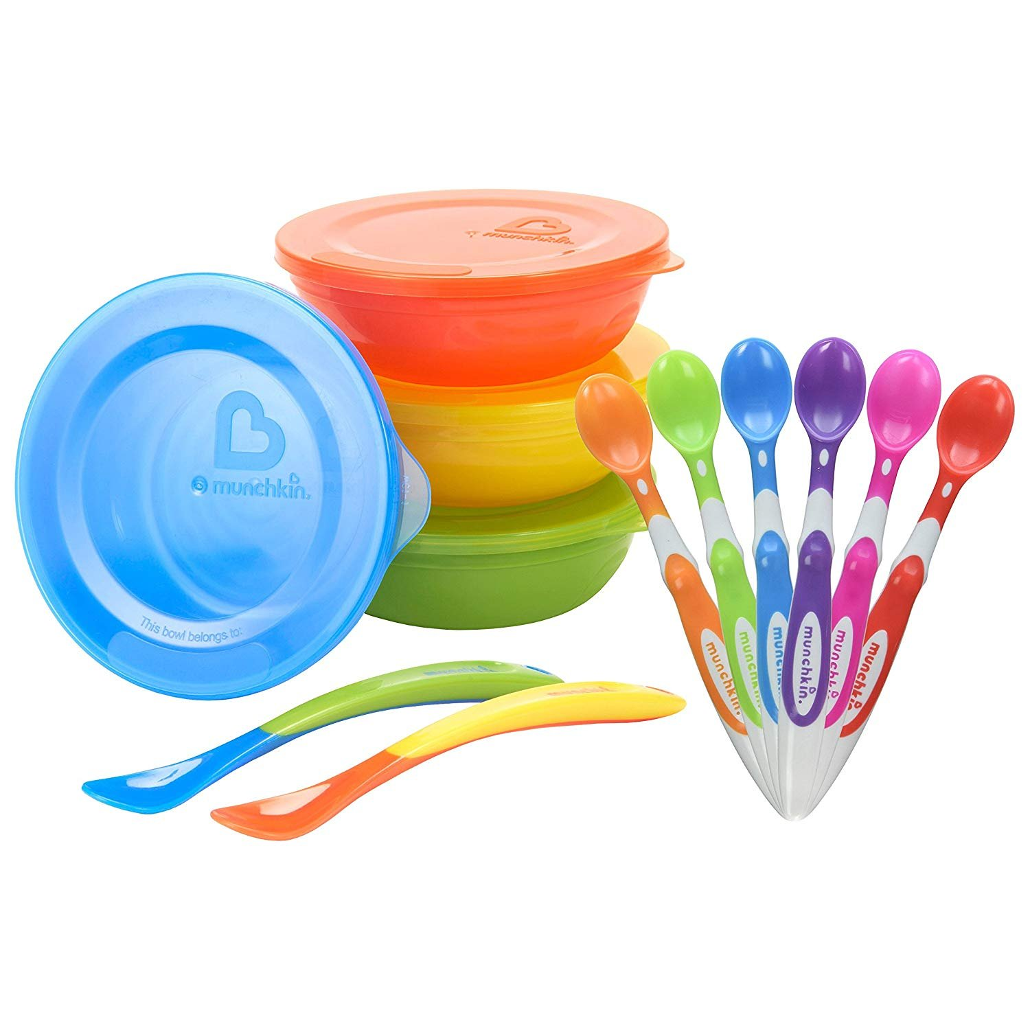 Munchkin 6-Pack Soft Tip Infant Spoons with Love A Bowls