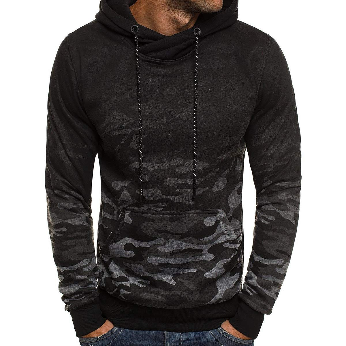 Men Autumn Winter Classical Gradient Ramp Long Sleeve Hooded Hoodie Casual Sweatshirt Outwear Top