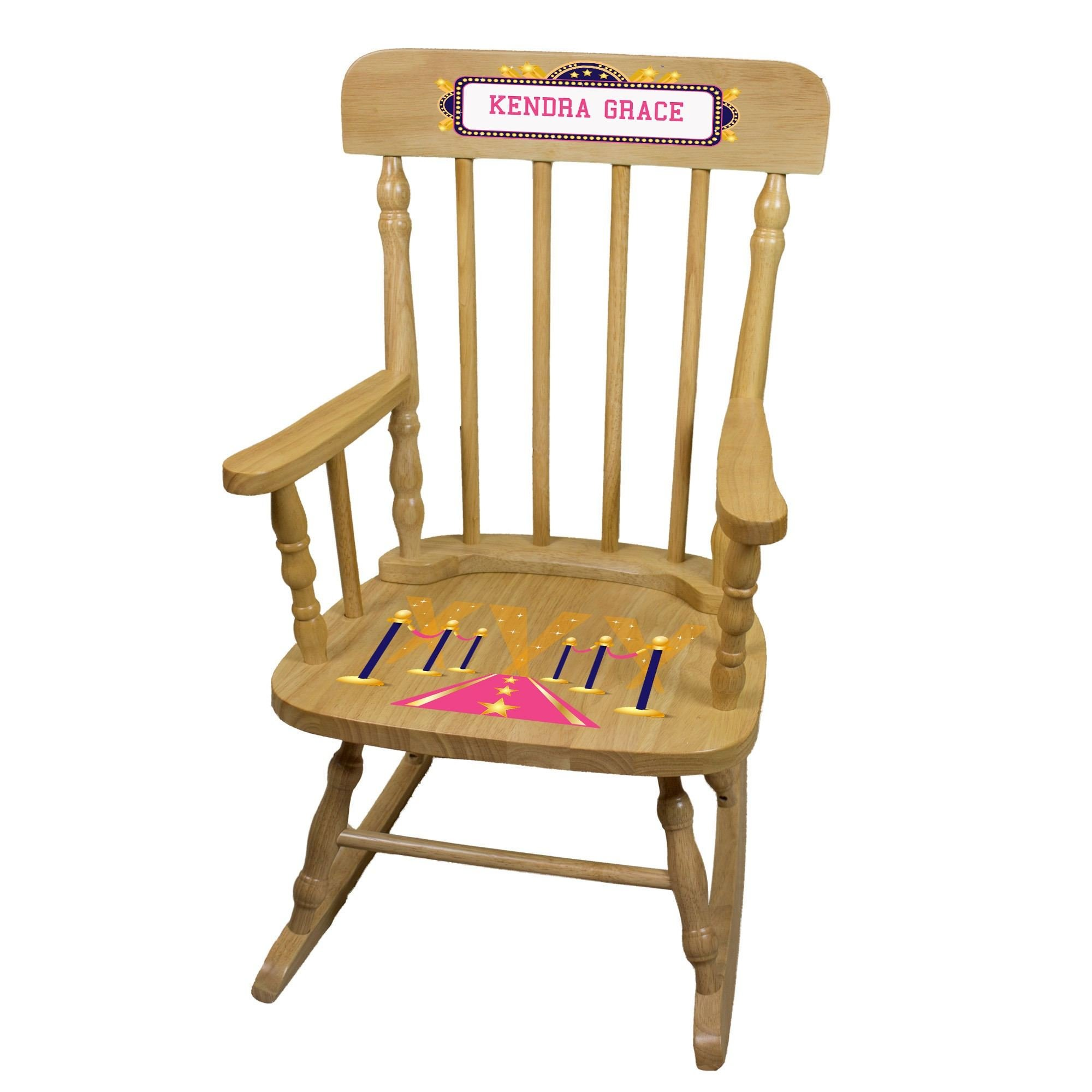 MyBambino Personalized A Star is Born pink Natural Wooden Childrens Rocking Chair