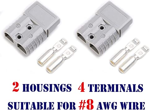 4 housing+8 Terminal pins Mr.Brighton LED 175Amp Anderson Compatible 2 Pole Power Connector Plug Grey w//Terminals for #4 AWG Wire
