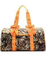 BNB Natural Camouflage Quilted Large Duffel Bag with Bow Accent Orange