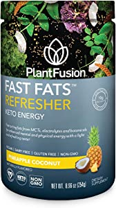 PlantFusion Fast Fats Refresher Keto Energy Powder   Ketogenic Diet Supplement with MCTs & Electrolytes   Vegan Powdered Drink Mix for Athletic Performance, Mental Focus   Pineapple Coconut, 8.96 Oz