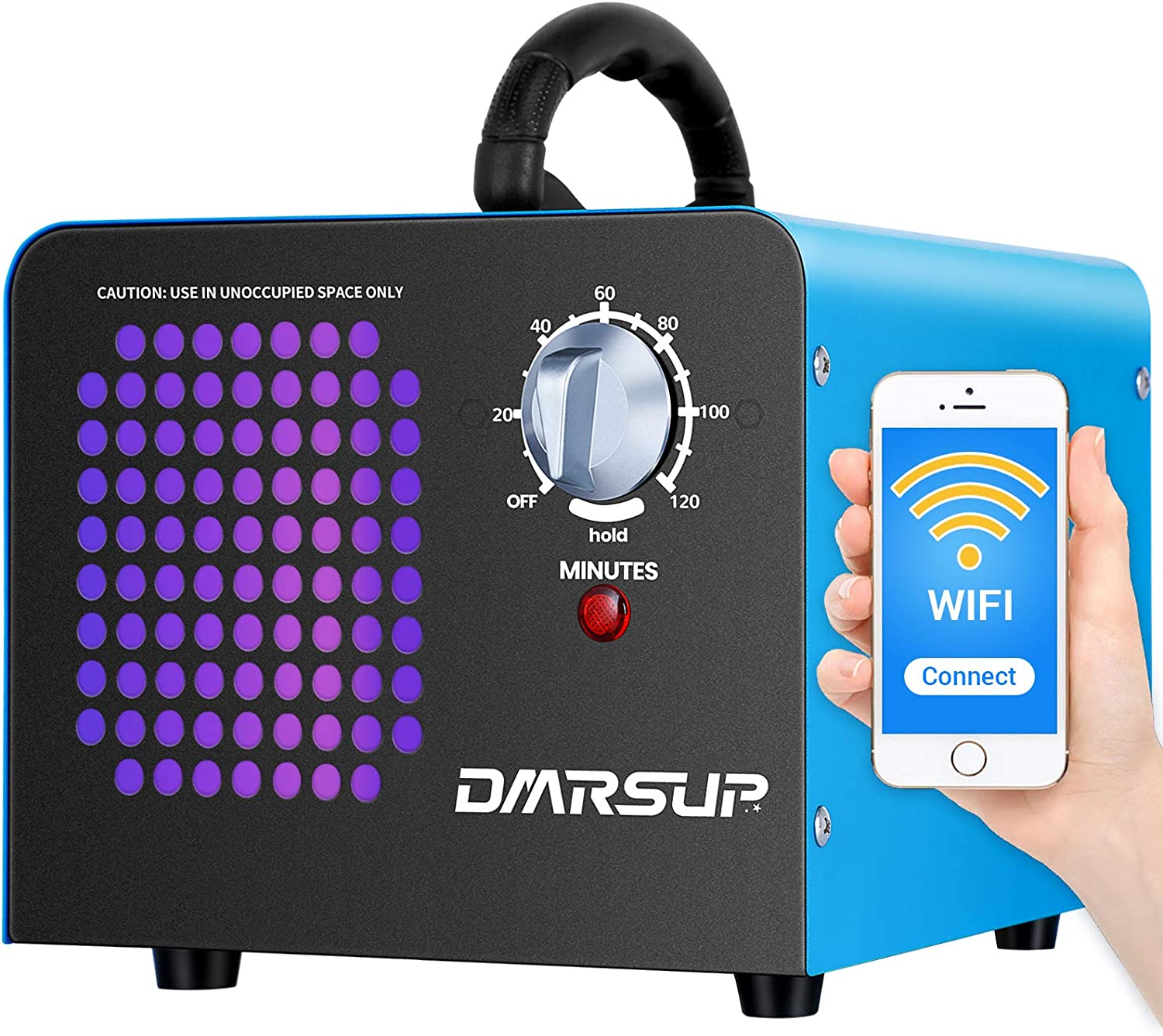DMRSUP Commercial Ozone Generator 2.0 APP Control 11000 mg/h Air Purifier Ionizer - Ozone Machine for Home, Cars, Pets, Smoke, Blue