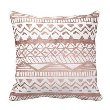 Zazzle Faux Rose Gold Handdrawn Geometric Aztec Throw Pillow 16  x 16