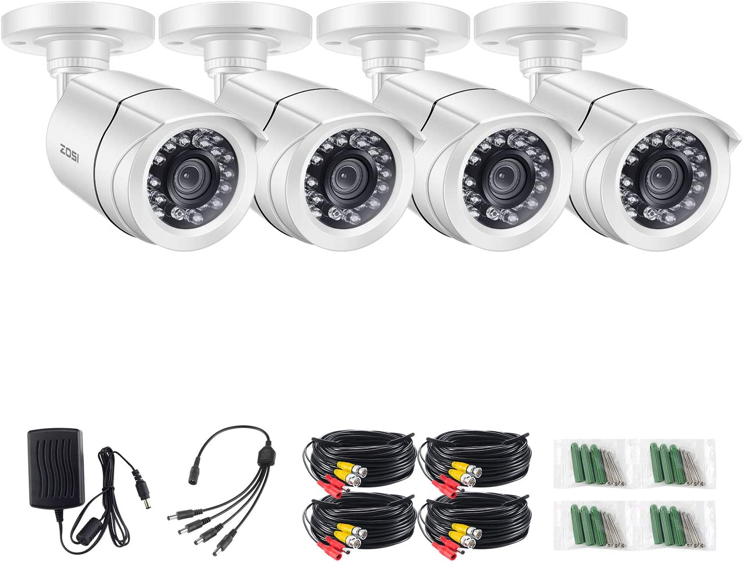 ZOSI 4 Pack 720p Bullet Security Cameras Hybrid 4-in-1 HD-CVI TVI AHD 960H Analog CVBS ,1280TVL Day Night Weatherproof Indoor Outdoor Bullet Camera HD, Night Vision Up to 65FT 20M