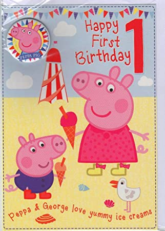 Gemma International Peppa Pig 1st Birthday Card Amazon Co Uk