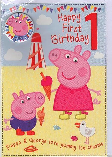 Peppa Pig - Tarjeta de felicitación por primer cumpleaños ...