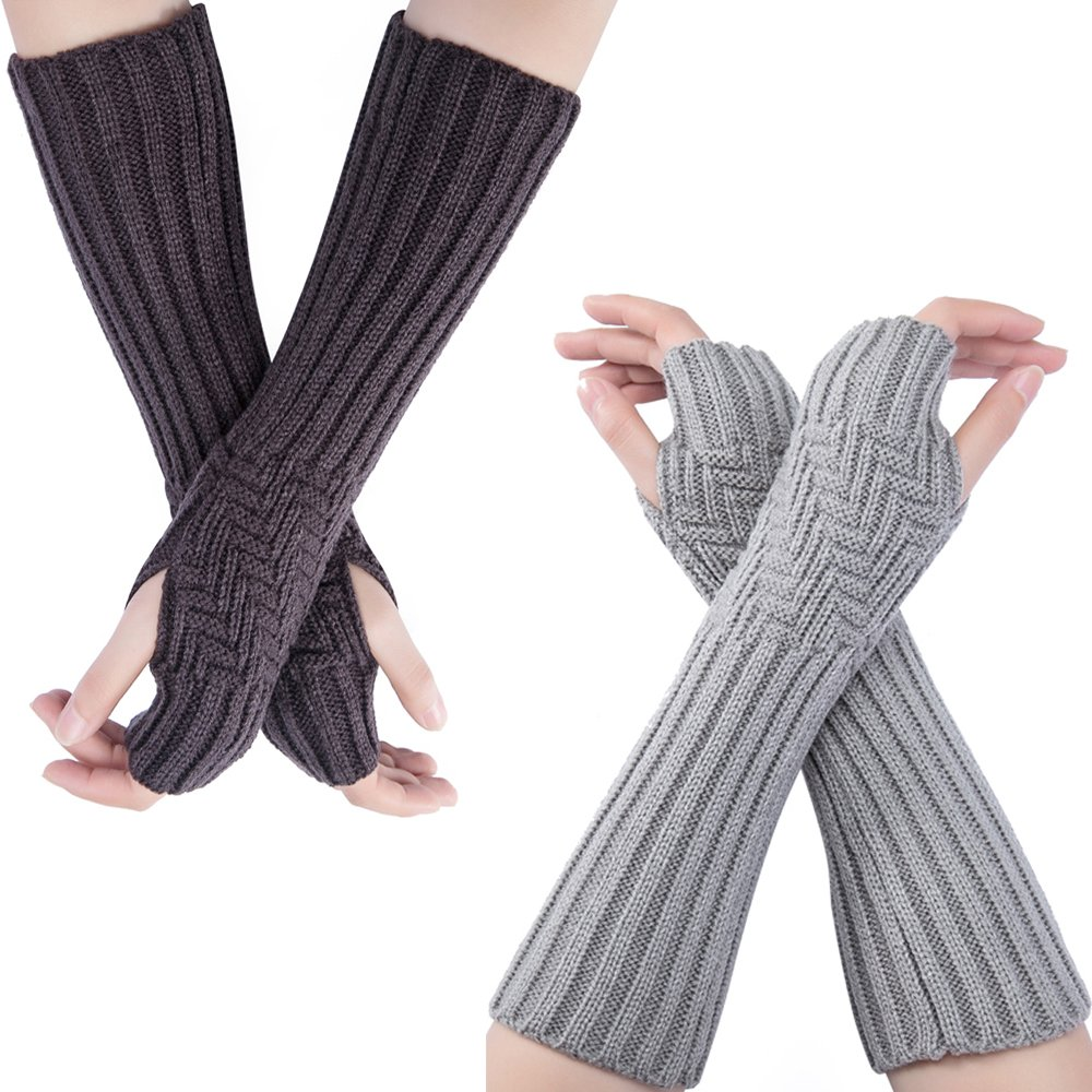 Flyou 2PairsWomen Knit Arm Warmers Fingerless Gloves Thumb Hole Gloves winter Mittens