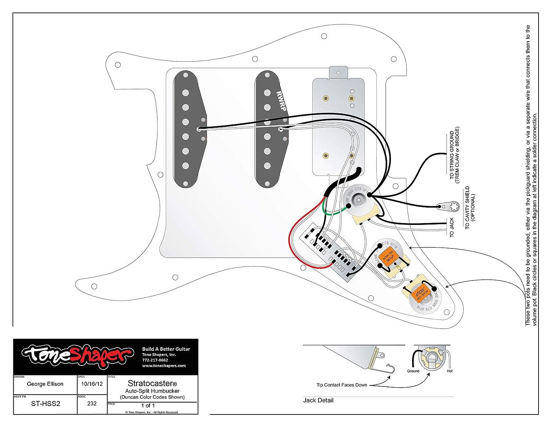 Kit de cuerdas para guitarra ToneShaper, para Fender HSS Stratocaster, HSS2 (cableado autodivisible): Amazon.es: Instrumentos musicales