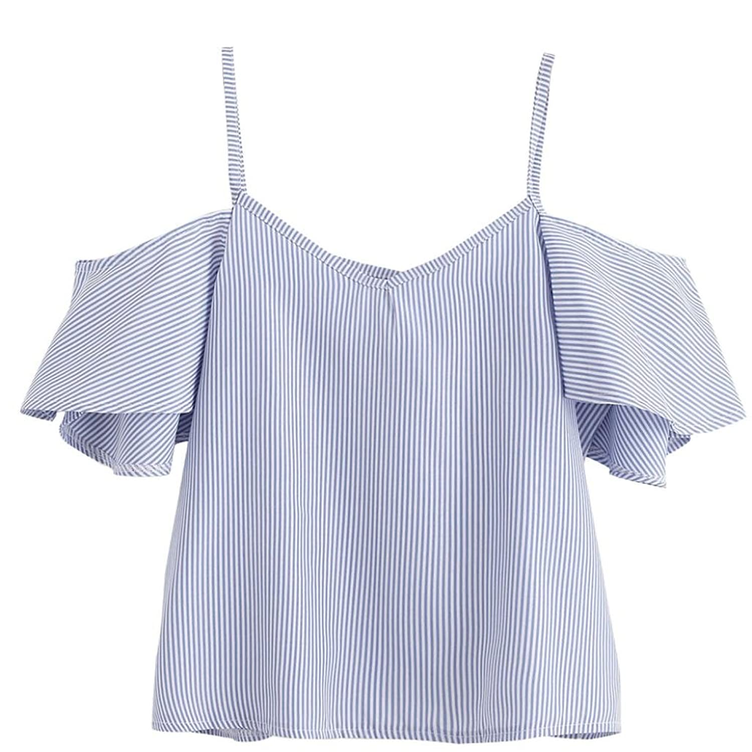 2018 Women Summer Pinstripe Blouse Cold Shoulder Top By Topunder At Jfashion Korean Style Double Layer Ivanka Amazon Womens Clothing Store