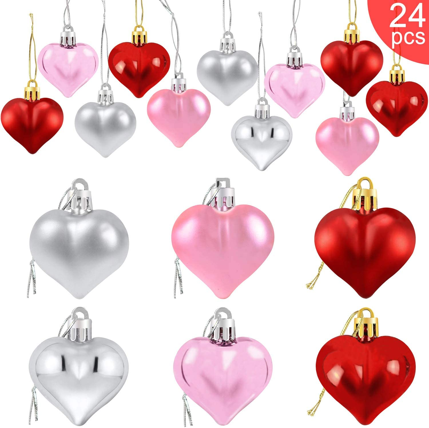 Partyprops 24Pcs Valentine's Day Heart Shaped Ornaments | Valentines Heart Decorations | Red Pink Silver Heart Shaped Baubles | Romantic Valentine's Day Hanging Decorations