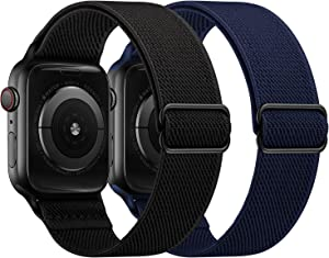 OUHENG 2 Pack Stretchy Band Compatible with Apple Watch Bands 44mm 42mm 40mm 38mm, Elastic Braided Nylon Sport Stretch Solo Loop Strap for iWatch SE Series 6/5/4/3/2/1, Black/Dark Blue, 44/42mm