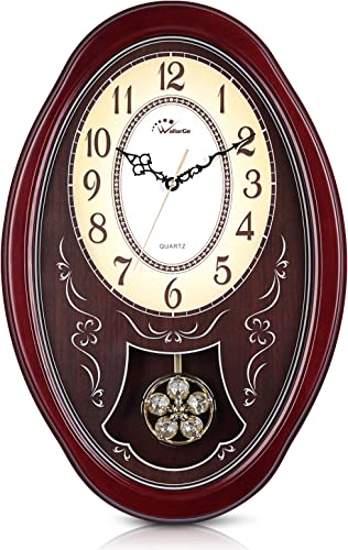 WallarGe Pendulum Wall Clock,Extra Large Westminster Chime Clocks,22″ x 14.5″ Cherry Tone Wood,Grandfather Wall Clocks,Chiming Every Hour,Vintage Decorative Clock
