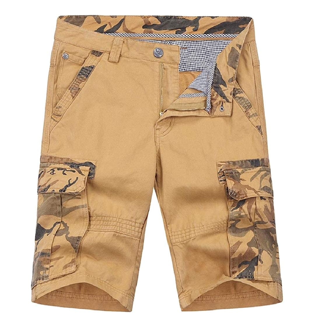 Andopa Mens Vintage Wash Camo Half Pants Multi-Pockets Fashion Cargo Pants