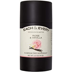 Each & Every All Natural Aluminum Free Deodorant for Women and Men, Cruelty Free Vegan Deodorant with Essential Oils, Non-Toxic, Paraben Free, Rose & Vanilla, 2.5 Oz.