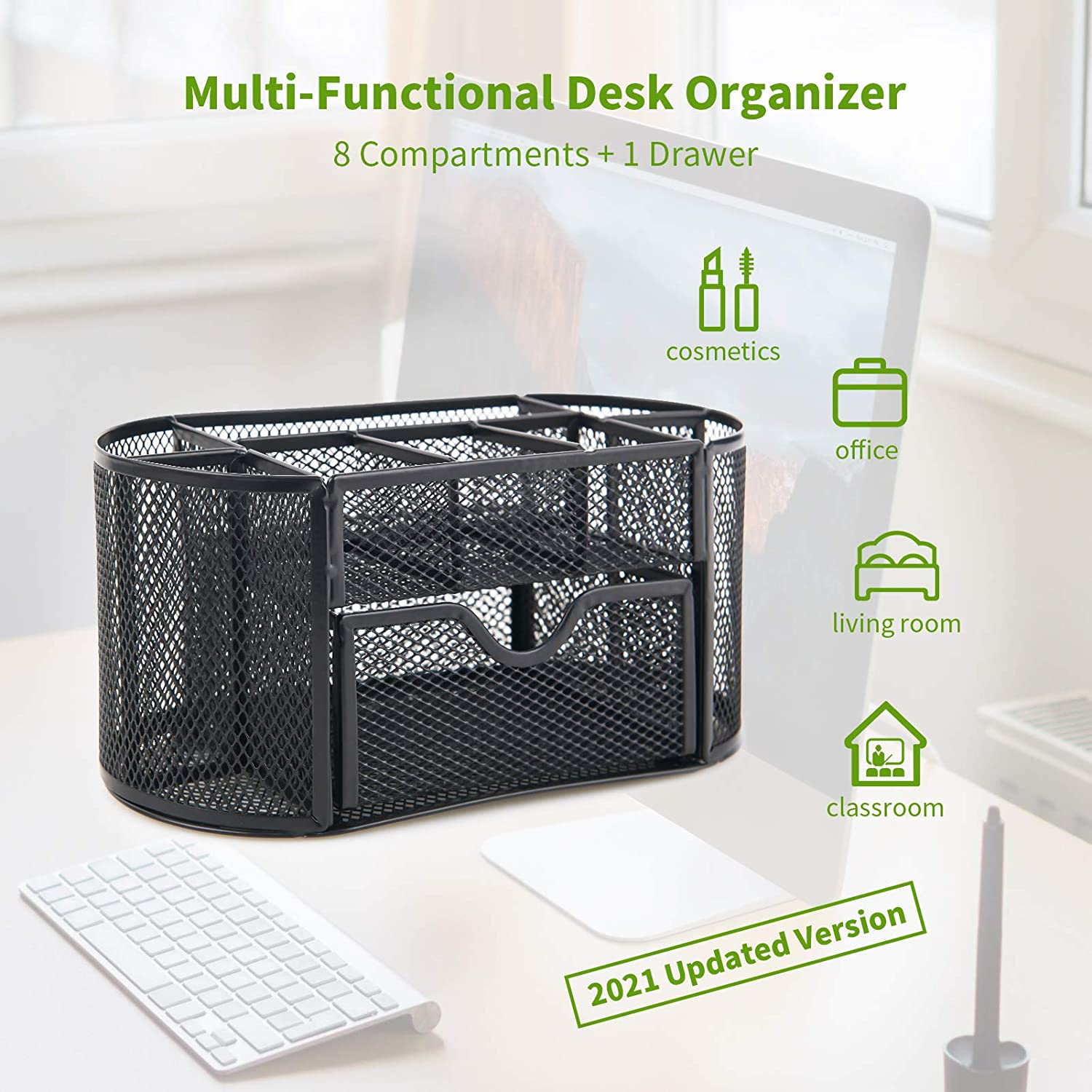 Mesh Desk Organizer Caddy Pen and Pencil Holder For Desk Office Supplies Desk Organizer and Accessories with 9 Compartments and Drawer for School Office Desk Organization Storage Black