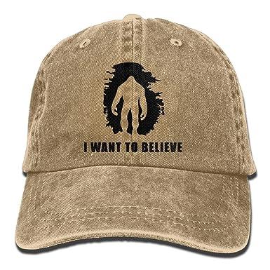 Mens Womens Baseball Cap I Want to Believe Bigfoot Cotton Jean Cabbie Cap  for Women 1c8fb6eeb786