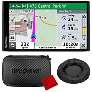 "Garmin DriveSmart 65 & Traffic 6.95"" Display GPS Navigator with Case and Mount Bundle"