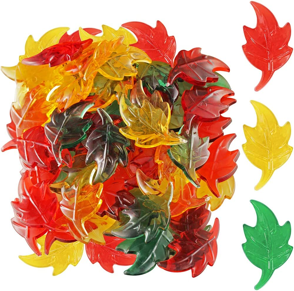 Package of 180 Fall Acrylic Mini Leaves - Great Autumn Table Scatters Vase Filler, and Fall Decoration Preschool Counting