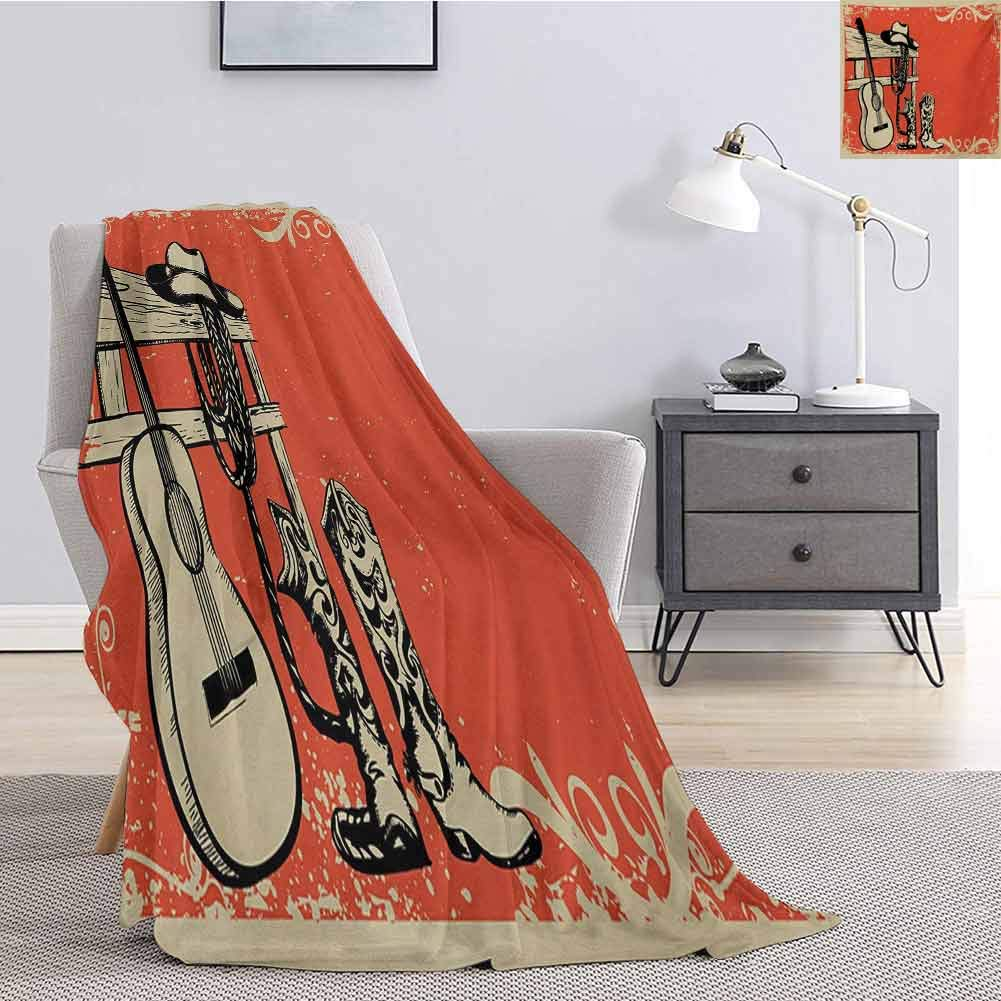 Luoiaax Western Rugged or Durable Camping Blanket Image of Wild West Elements with Country Music Guitar and Cowboy Boots Retro Art Warm and Washable W60 x L50 Inch Beige Orange by Luoiaax