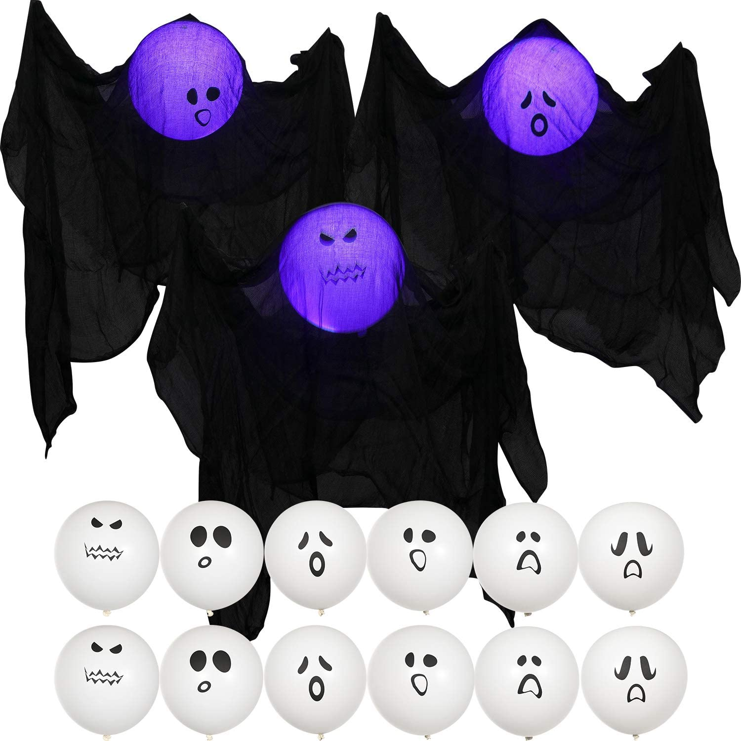 25 Pieces Halloween Hanging Light up Ghost Party Decoration, 12 Pieces Ghost Balloons, 12 Pieces Blue LED Balloon Light and 1 Piece Black Gauze Yarn for Halloween Outdoor Garden Decoration Supplies