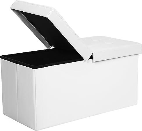 SONGMICS Puff Baúl Plegable Taburete de almacenamiento 80 L Tapa plegable Carga máxima de 300 kg Blanco 76 x 38 x 38 cm LSF45WT: Amazon.es: Hogar