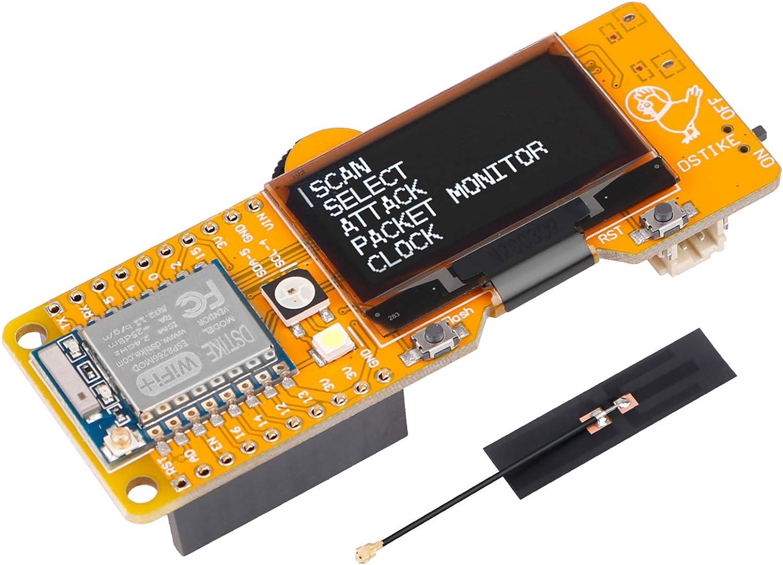 Seamuing Herramienta de prueba WiFi ESP8266 placa de desarrollo WiFi Deauther DSTIKE MiNi EVO con pantalla OLED de 1,3 pulgadas y antena de 5 dB