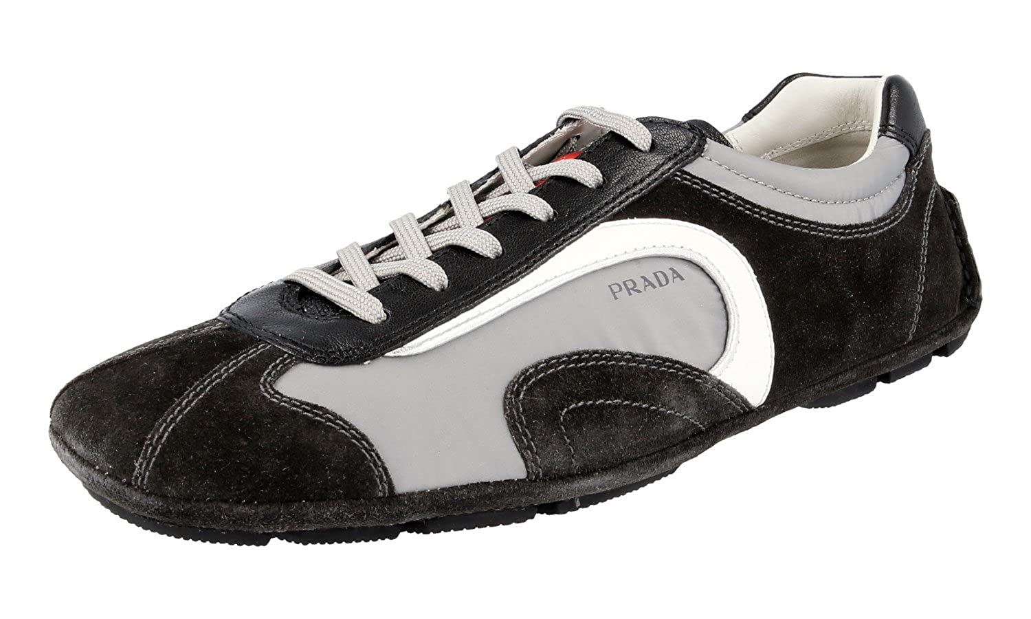 good prada mens men sneakers black athletic 71473 cfa40  germany amazon prada  mens 4e1165 otq f0fhm grey leather sneaker eu 6 40 us 7 fashion 9fcad125c30