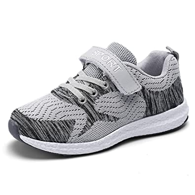 Kinder Schuhe Sportschuhe Laufschuhe Mesh Atmungsaktiv Sneaker Turnschuhe  Klettverschluss Wanderschuhe Hallenschuhe für Mädchen Jungen Grau 28 d3f28ff7aa