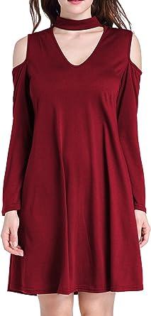 XXSXX - Vestido - Camisa - para mujer borgoña 42: Amazon.es ...