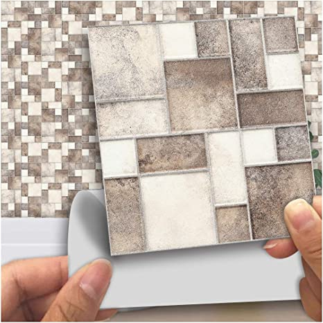 Amazon Com Vancore 3d Tile Stickers Kitchen Tile Transfers Stickers Bathroom 10cm X 10cm Pack Of 18 Marble Mixed Printed In 3d Home Kitchen
