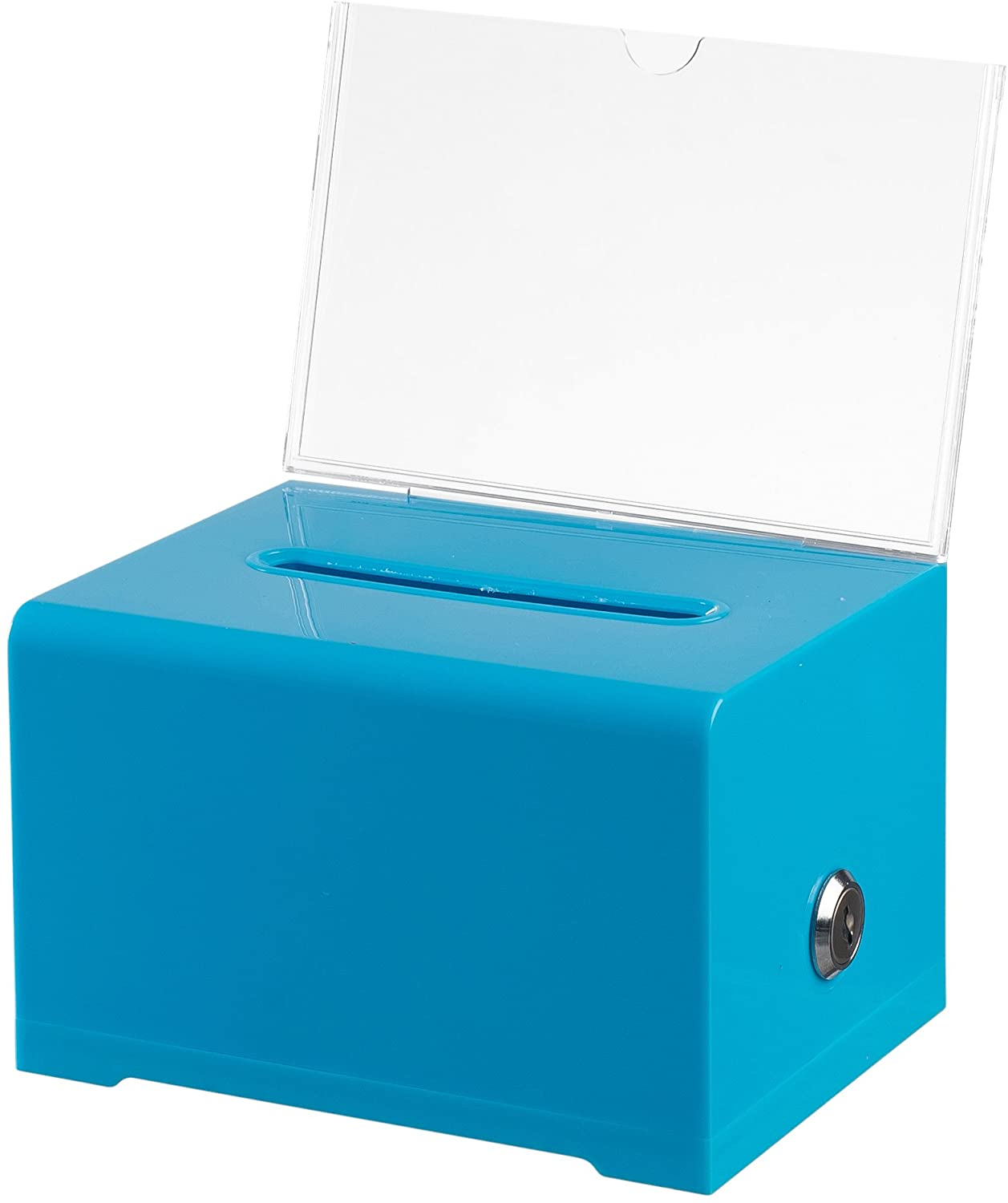 """Adir Acrylic Donation Ballot Box with Lock - Secure and Safe Suggestion Box - Drawing Box - Great for Business Cards (6.25"""" x 4.5"""" x 4"""") - Blue"""
