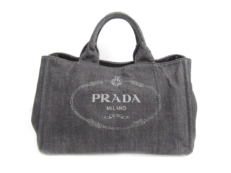 [プラダ] PRADA カナパトートバッグ ハンドバッグ ブラックデニム デニムキャンバス B2642 [中古] B07DMT457Q