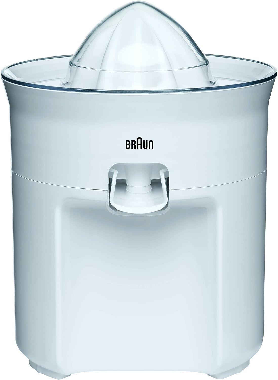 Braun TributeCollection CJ3050 - Exprimidor Eléctrico, 60 w, Sistema Antigoteo, Tapa Incluida, Apto para Lavavajillas, Blanco