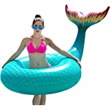 Jasonwell Giant Inflatable Mermaid Tail Pool Float with Rapid Valves Summer Beach Swimming Pool Party Lounge Raft Decorations Toys for Adults Kids (Green)