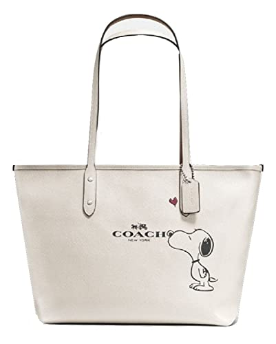 a1672e2d3b Amazon.com: Coach X Peanuts Snoopy, City Zip Tote, Chalk (Off-White) Calf  Leather, F37273: Shoes